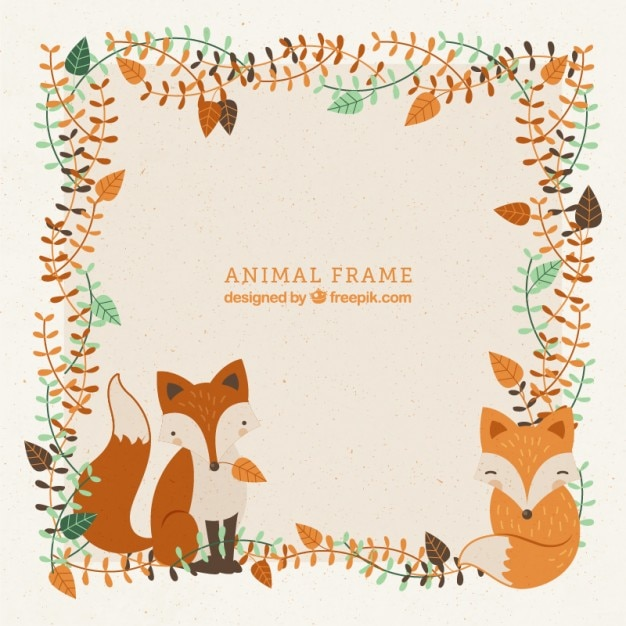 Fall Wallpaper Cute Decorative Frame With Hand Drawn Lovely Foxes And Leaves