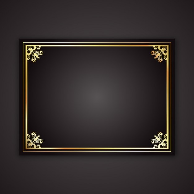 Decorative gold frame on a black gradient background Vector Free - black border background