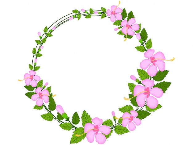 Decorative Rounded Frame Made By Beautiful Flowers And