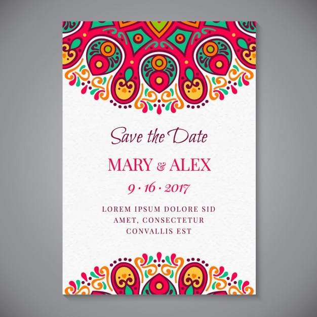 Decorative wedding invitation of abstract forms Vector Free Download - invitation forms