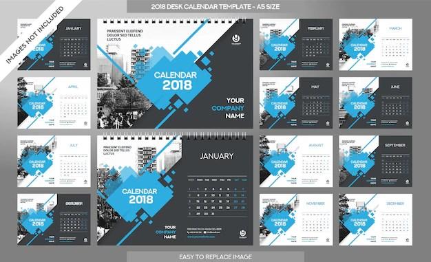 Desk calendar 2018 template - 12 months included - a5 size - art