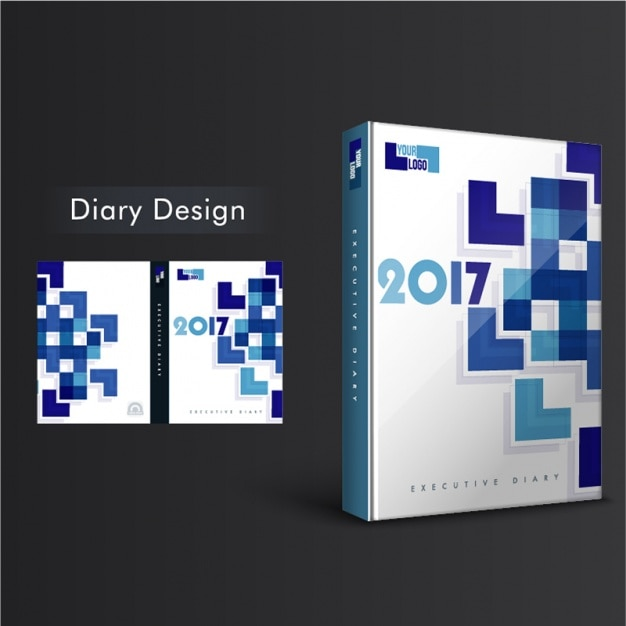 Diary cover design with geometric forms in blue tones Vector