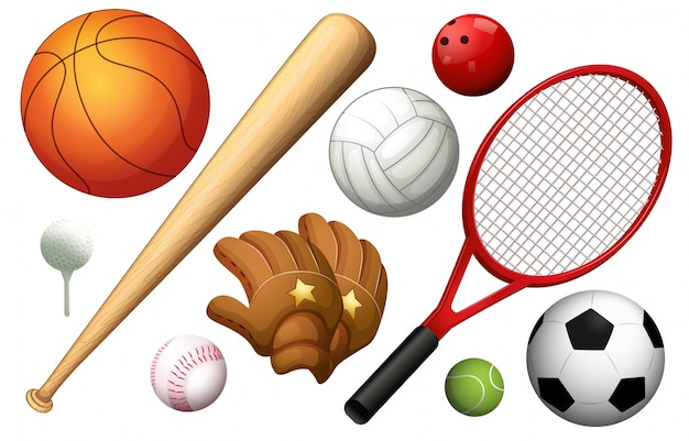 Different types of sport equipments illustration Vector Free Download