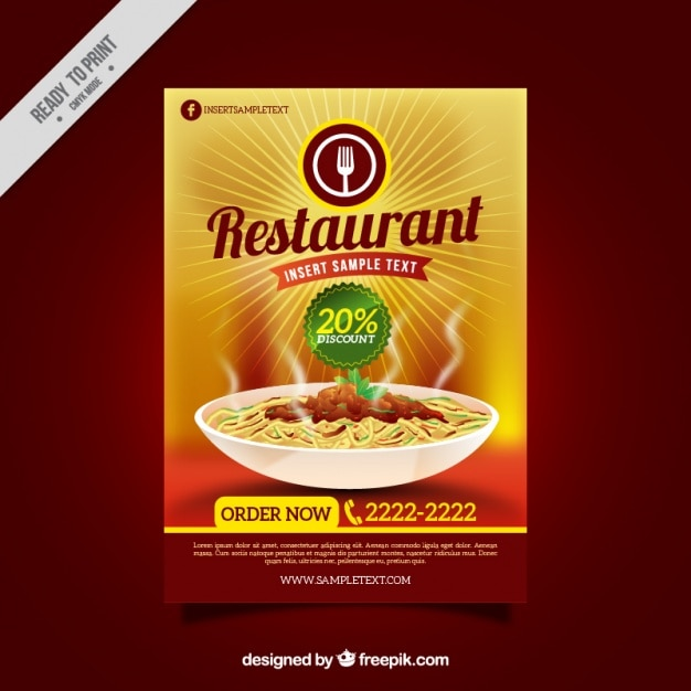 Discount restaurant brochure Vector Free Download