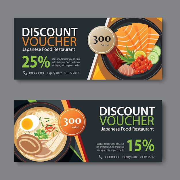 Discount voucher template with japanese food flat design Vector - food voucher template