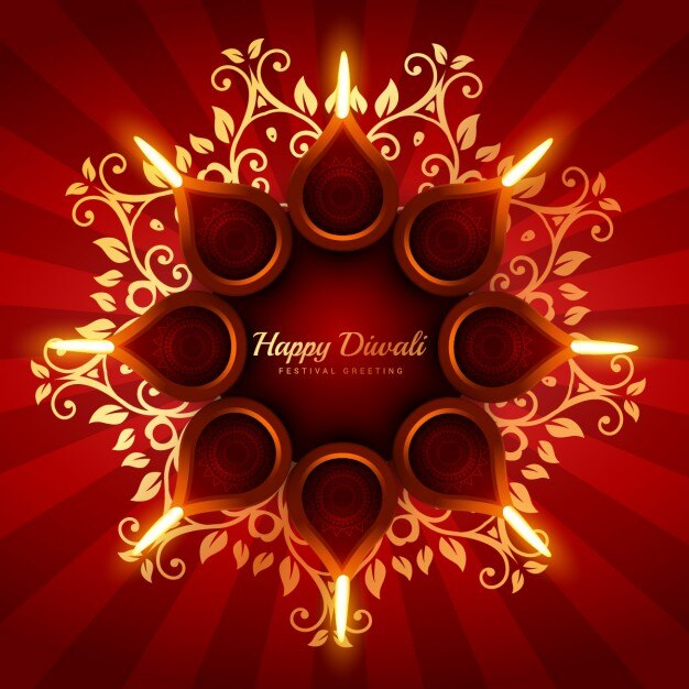 Animated Diwali Diya Wallpapers Diwali Background With Floral Ornaments Vector Free Download