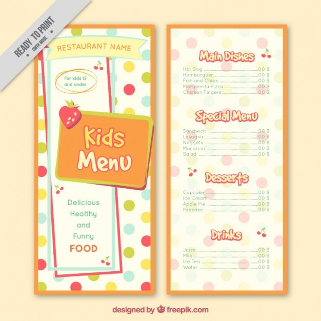 Dotted kids menu template Vector Free Download