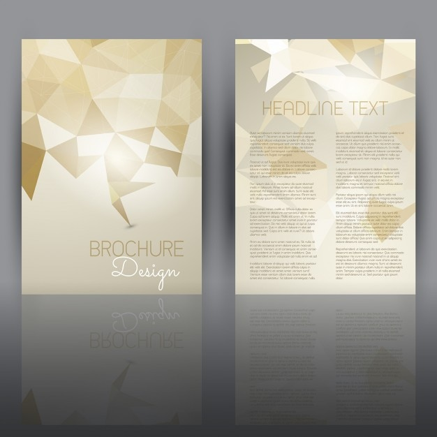 Double sided flyer template with a low poly design Vector Free - double sided brochure templates