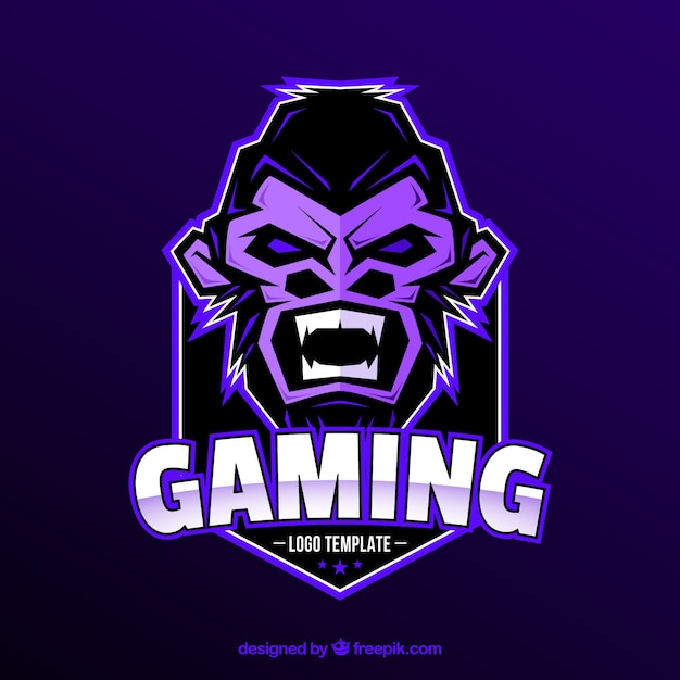 E-sports team logo template with gorilla Vector Free Download
