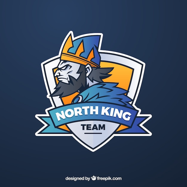 E-sports team logo template with king Vector Free Download