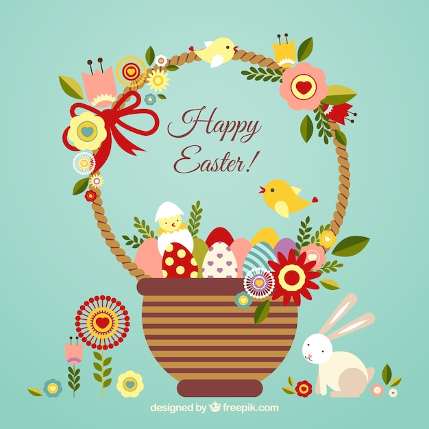 Easter card with a cute basket Vector Free Download