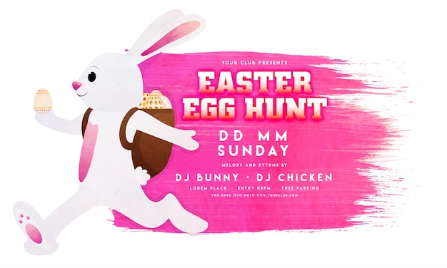 Easter flyer template with pink stain and bunny Vector Premium - easter flyer template