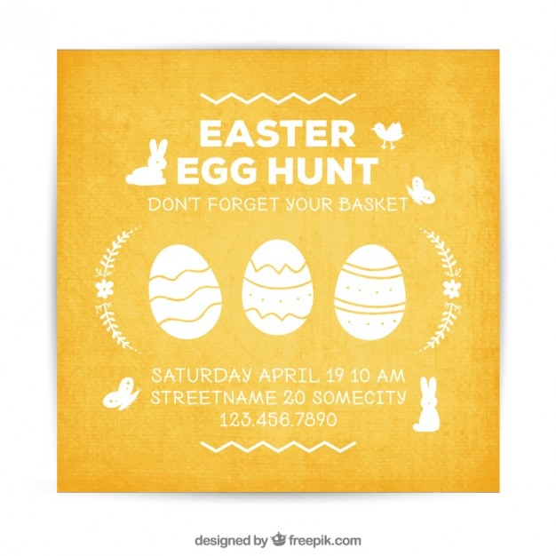 Easter invitation card Vector Free Download