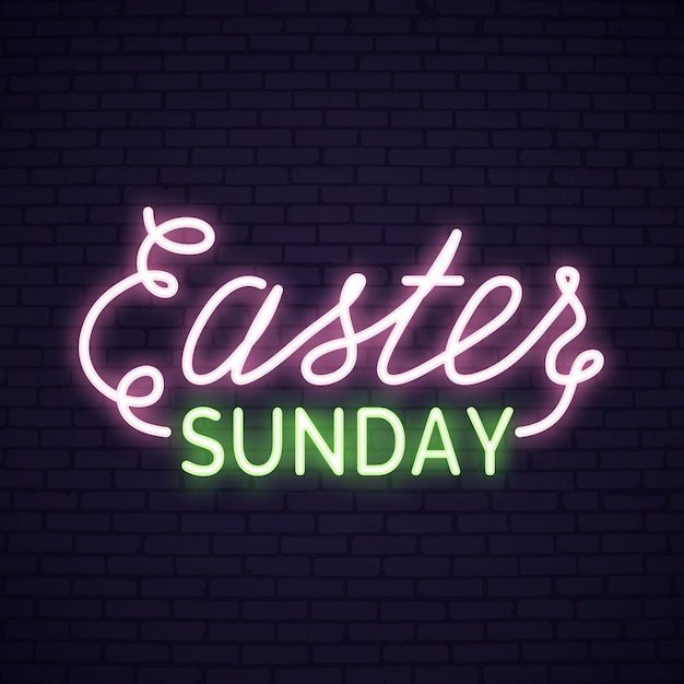 Easter Sunday neon lettering with bunny Vector Premium Download