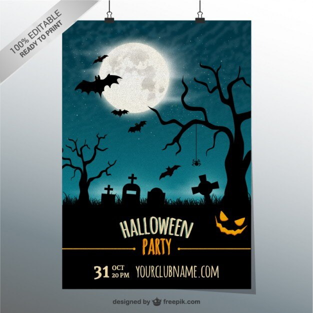 Editable party poster template for Halloween Vector Free Download - editable poster templates