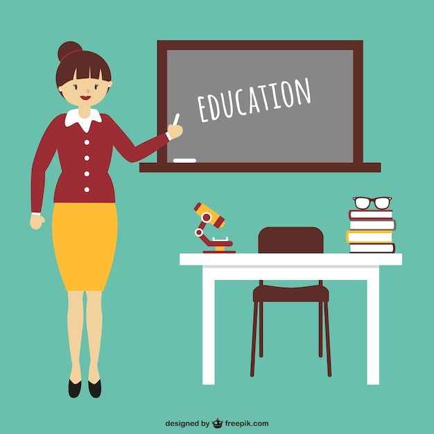 Education cartoon with teacher Vector Free Download