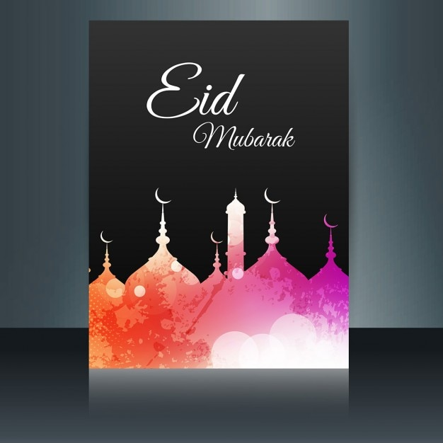 Eid mubarak flyer in colors Vector Free Download