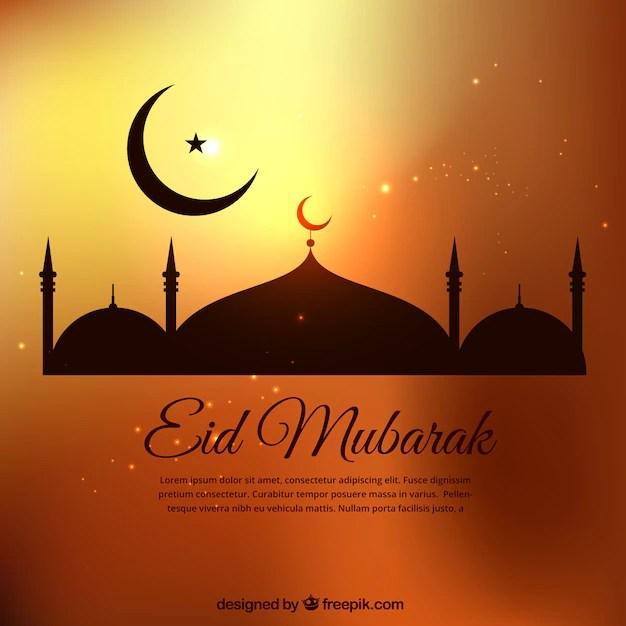 Eid mubarak template in golden tones Vector Premium Download