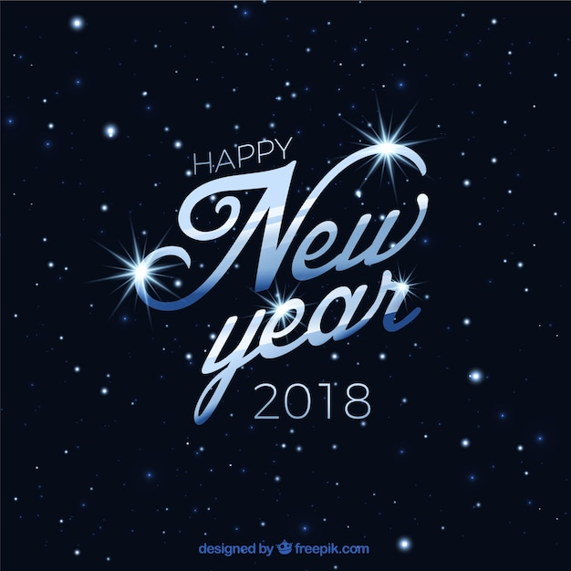 Elegant background of happy new year 2018 with stars Vector Free