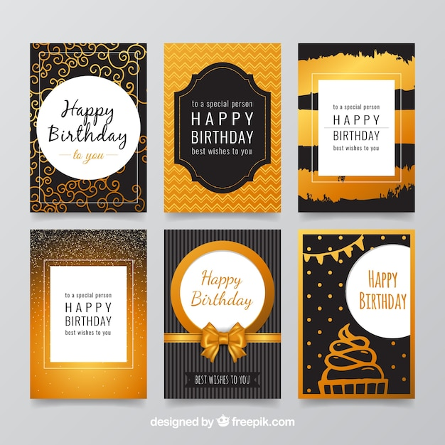 Elegant birthday cards collection Vector Free Download
