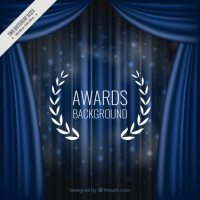 Elegant blue curtains background Vector | Free Download