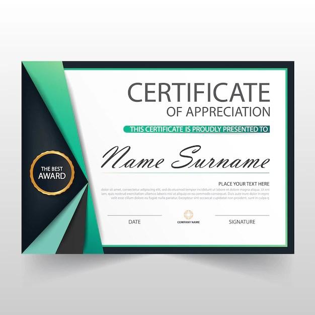 Elegant certificate of appreciation template Vector Free Download