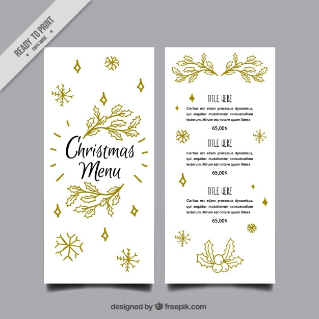Elegant christmas menu template with leaves sketches Vector Free - free xmas menu templates