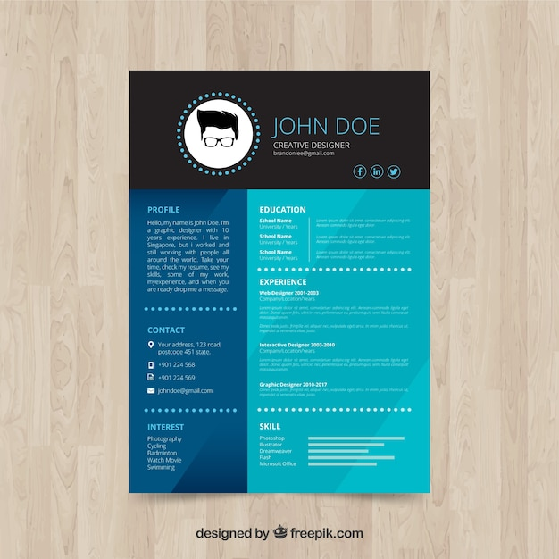 Elegant creative designer resume Vector Free Download