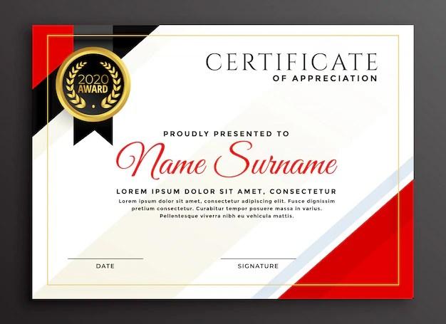 Elegant diploma certificate template design Vector Free Download
