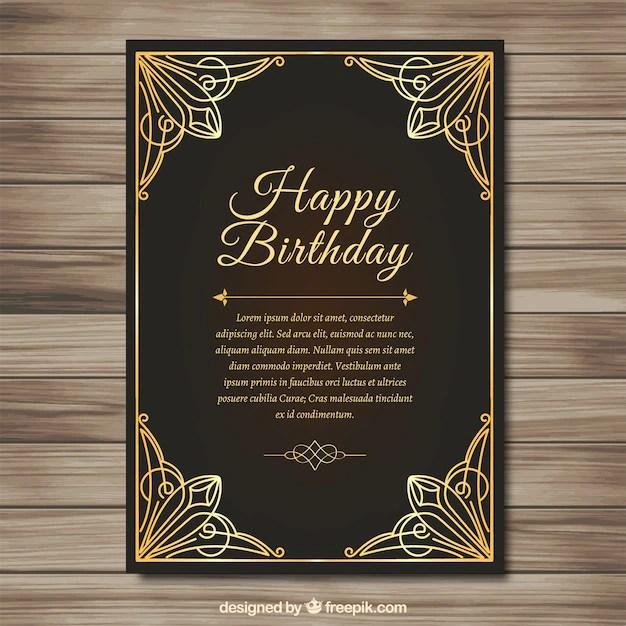 Elegant golden birthday card Vector Free Download