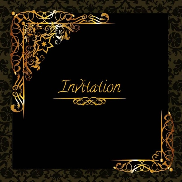 Elegant golden design invitation template Vector Free Download - Invitations Templates