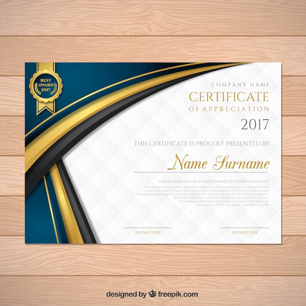 Elegant graduation certificate with wavy forms Vector Free Download