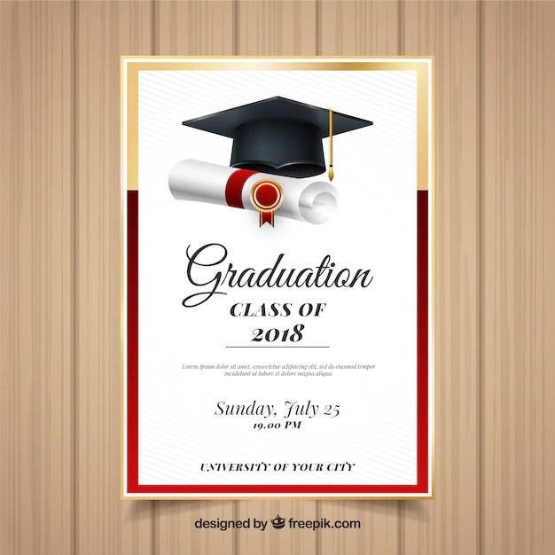 Elegant graduation invitation template with realistic design Vector