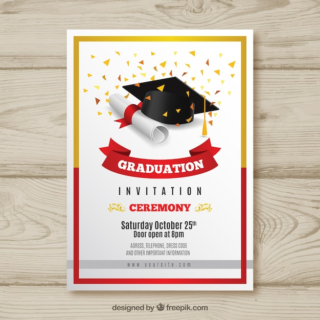 Elegant graduation invitation with realistic design Vector Free