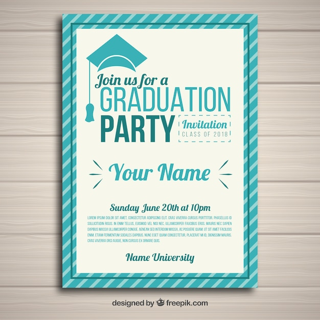 Elegant graduation party invitation template with flat design Vector - free graduation name card template