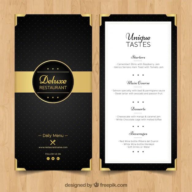 Elegant menu for luxury restaurant Vector Free Download