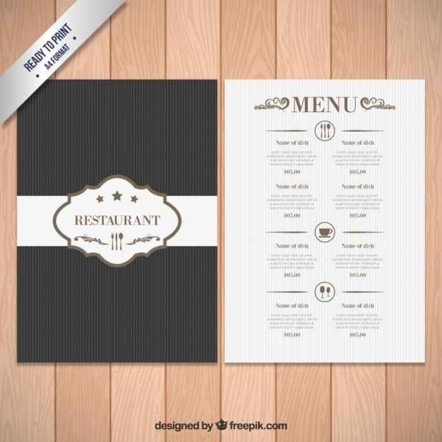 Elegant menu template Vector Free Download - Free Drink Menu Template