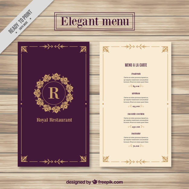 Elegant Restaurant Menu Templates