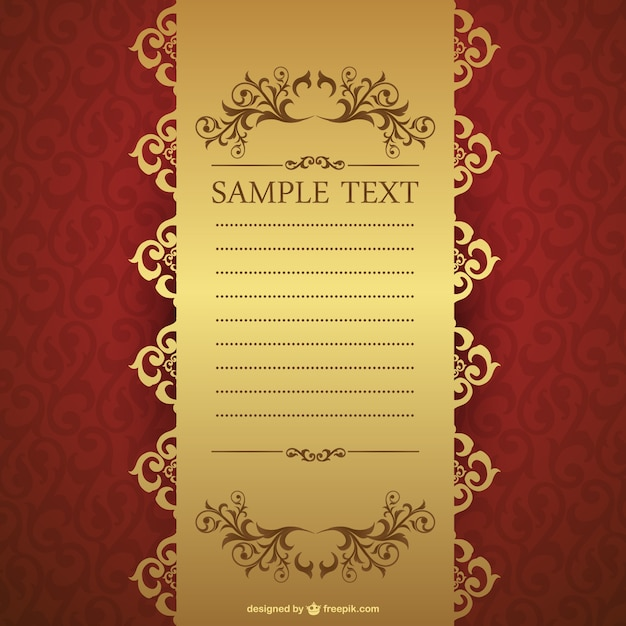 Elegant red and golden invitation template Vector Free Download - free download invitation templates