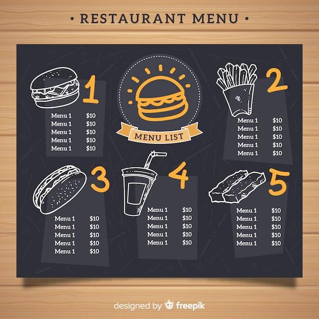 Elegant restaurant menu template with chalkboard style Vector Free