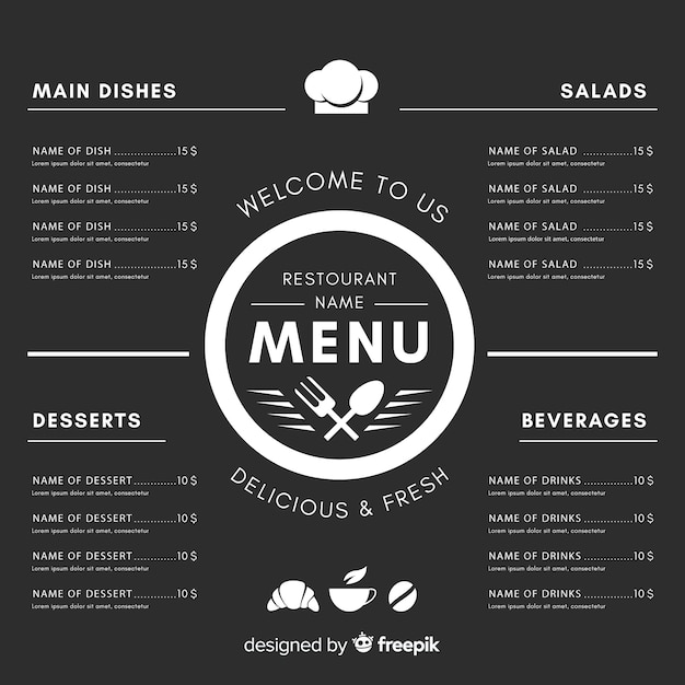 Elegant restaurant menu template with chalkboard style Vector Free