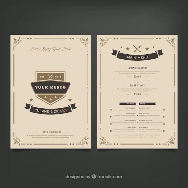 Elegant restaurant menu template with vintage ornaments Vector