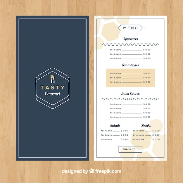Elegant restaurant menu Vector Free Download