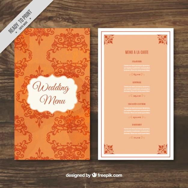 Elegant Wedding Menu Template Vector Free Download - wedding menu template