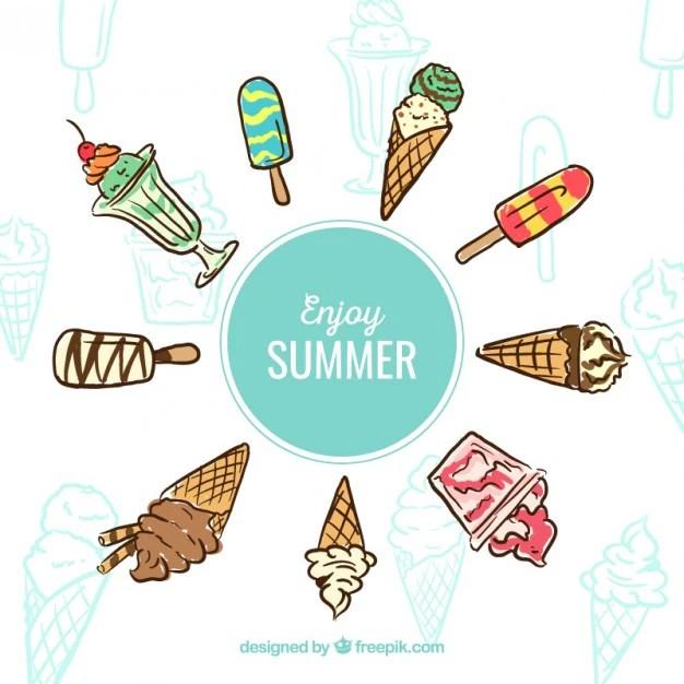 Enjoy summer ice creams Vector Free Download
