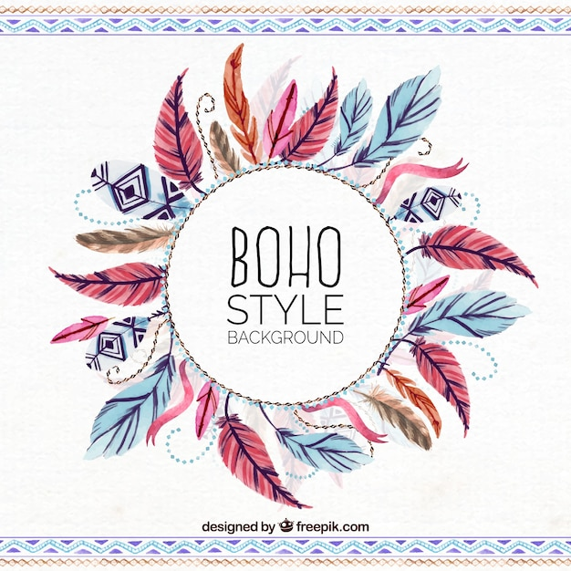 Bohemia Quotes Wallpaper Ethnic Watercolor Feathers Background Vector Free Download