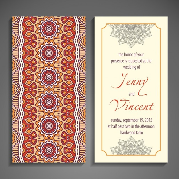 Ethnic wedding invitation with abstract forms Vector Free Download