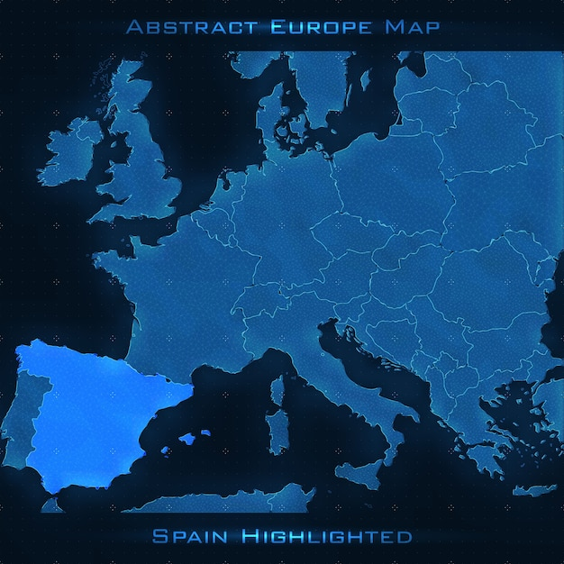Europe abstract map spain highlighted vector background