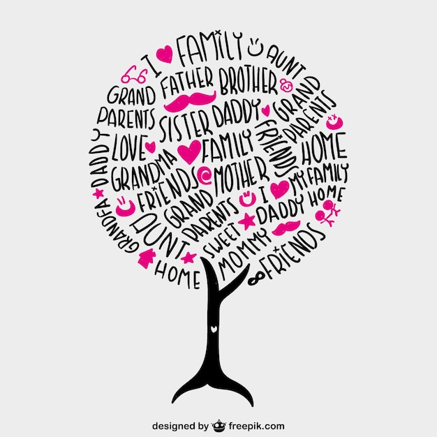 Family lettering tree with pink hearts Vector Free Download
