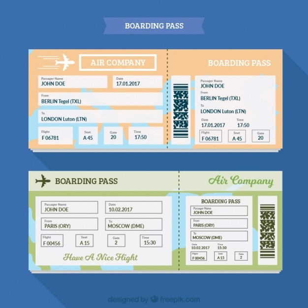 Download Vector - Fantastic boarding pass template with different